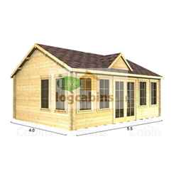 5.5m X 4.0m (18 X 13) Apex Reverse Log Cabin (4997) - Double Glazing + Double Doors - 44mm Wall Thickness