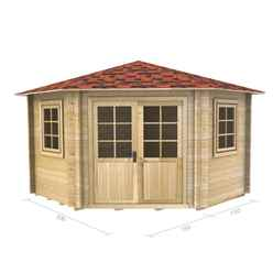 3m x 3m (10 x 10) Corner Log Cabin (2036) - Double Glazing + Double Doors - 34mm Wall Thickness