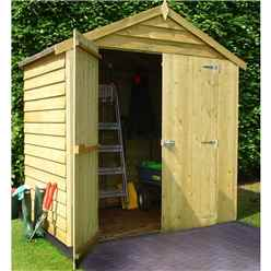 4 X 6 (1.19m X 1.79m) - Overlap Pressure Treated - Apex Garden Shed - Windowless - Double Doors - 10mm Solid OSB Floor - CORE