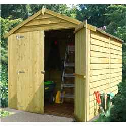 8 x 6 (2.38m x 1.79m) - Overlap Pressure Treated - Apex Garden Shed - Windowless - Double Doors -10mm Solid OSB Floor