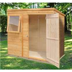 6 X 4 (1.16m X 1.77m) - Tongue And Groove - Pent Garden Shed / Workshop - 1 Opening Window - Single Door - 10mm Solid Osb Floor