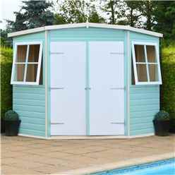 7 x 7 (2.07m x 2.07m) - Tongue And Groove - Corner Garden Pent Shed / Workshop - 12mm Tongue And Groove Floor
