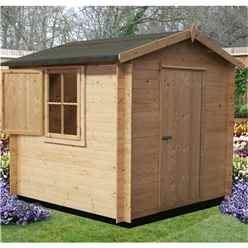 2.69m x 2.69m Log Cabin + Single Door - 19mm Wall Thickness