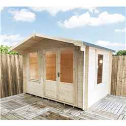 3.29m x 2.39m Log Cabin + Half Glazed Double Doors  - 19mm Wall Thickness