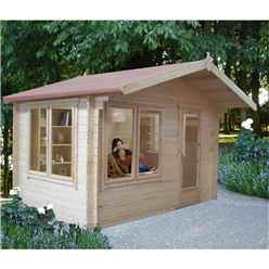 2.69m x 2.69m Log Cabin + Fully Glazed Single Door - 28mm Wall Thickness