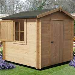 2.09m x 2.09m Log Cabin + Single Door - 19mm Wall Thickness