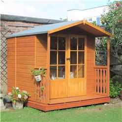 7 X 7 Summerhouse With Veranda + Fully Glazed Double Doors (12mm Tongue And Groove  Floor)