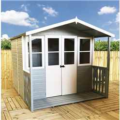 7 x 7 Summerhouse + Half Glazed Double Doors and Veranda (12mm Tongue and Groove)