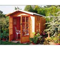 7ft X 7ft Summerhouse + Fully Glazed Double Doors (12mm Tongue And Groove Floor And Roof)