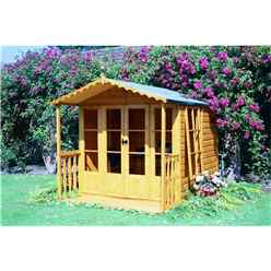 7ft x 7ft Summerhouse + Fully Glazed Double Doors (12mm Tongue and Groove Floor)