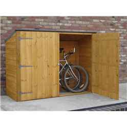 6 x 2 (1.85m x 0.63m) - Tongue And Groove - Pent Bike Store - Double Doors - No Floor (CORE)