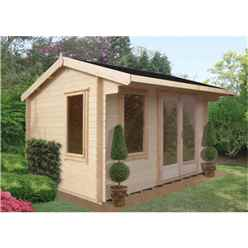 4.19m x 3.59m Log Cabin + Fully Glazed Double Doors - 28mm Wall Thickness