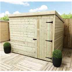 7 X 5 Windowless Pressure Treated Tongue And Groove Pent Shed With Single Door (please Select Left Or Ri