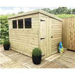8 x 7 Pressure Treated Tongue And Groove Pent Shed With 3 Windows And Side Door + Safety Toughened Glass (Please Select Left Or Right Panel For Door)