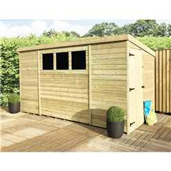 10 x 8 Pressure Treated Tongue And Groove Pent Shed With 3 Windows And Side Door + Safety Toughened Glass  (Please Select Left Or Right Panel For Door)