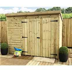 7 x 6 Windowless Pressure Treated Tongue And Groove Pent Shed With Double Doors (please Select Left Or Right Doors)
