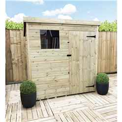 6 X 4 Pressure Treated Tongue And Groove Pent Shed With 1 Window And Single Door + Safety Toughened Glass (please Select Left Or Right Door)