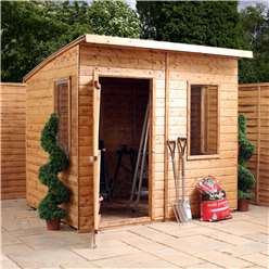 8 x 6 Tongue and Groove Curved Roof Shed With Single Door + 3 Windows (12mm Tongue and Groove Floor and Roof)