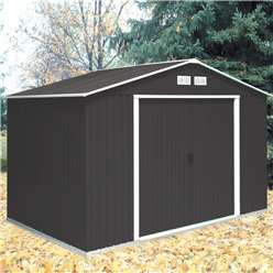 **PRE-ORDER: DUE BACK IN STOCK 21ST AUGUST** 10 x 8 Select Anthracite Metal Shed (3.21m x 2.42m)