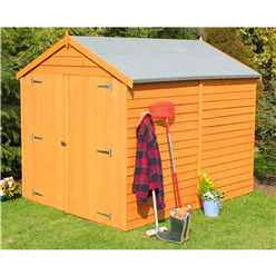 8 x 6 (2.39m x 1.82m) - Overlap Dip Treated - Apex Garden Shed - Windowless - Double Doors - 10mm Solid OSB Floor