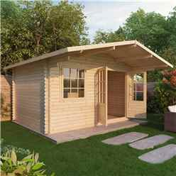 4m x 3m Apex Log Cabin (Double Glazing) + Free Floor & Felt & Safety Glass (44mm)