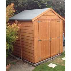 6 x 6 (1.76m x 1.82m - Overlap Dip Treated - Apex Garden Shed - Windowless - Double Doors - 10mm Solid OSB Floor