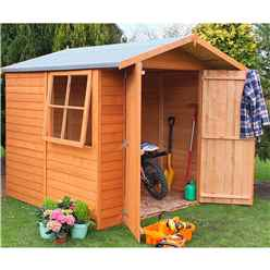 7 x 7 (1.98 x 2.04m) - Overlap Dip Treated - Apex Garden Shed - 1 Opening Window - Double Doors - 10mm Solid OSB Floor - CORE (BS)