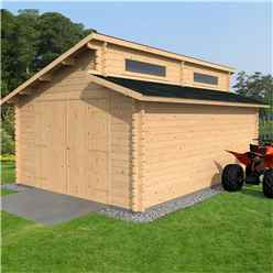 4m x 5.6m Pent Garage Log Cabin (34mm Tongue and Groove) - Double Glazing