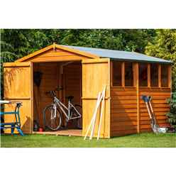 10 x 8 (2.99m x 2.39m) - Overlap Dip Treated - Apex Garden Shed - 6 Windows - Double Doors - 10mm Solid OSB Floor