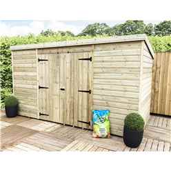 12 x 3 Pressure Treated Windowless Tongue And Groove Pent Shed With Double Doors (Centre)