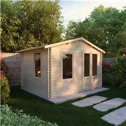 3.43m x 2.70m Apex Log Cabin (19mm Tongue and Groove)  + Free Floor & Felt & Safety Glass