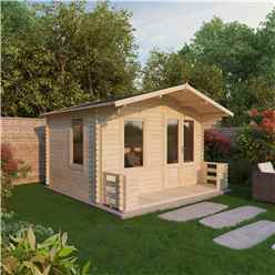 "3.29m x 3.78m Apex Log Cabin Including Verandah (2' 7"" 0.8m) - (19mm Tongue and Groove) + Free Floor & Felt & Safety Glass"