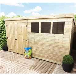 12 x 5 Pressure Treated Tongue And Groove Pent Shed With 3 Windows And Double Doors + Safety Toughened Glass