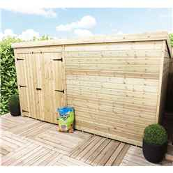 14 x 3 Windowless Pressure Treated Tongue And Groove Pent Shed With Double Doors (Please Select Left Or Right Doors)