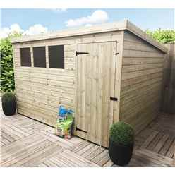 10 X 3 Pressure Treated Tongue And Groove Pent Shed With 3 Windows And Single Door + Safety Toughened Glass (please Select Left Or Right Door)