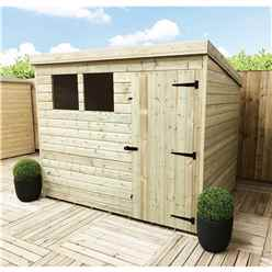 8 x 7 Pressure Treated Tongue And Groove Pent Shed With 2 Windows And Single Door + Safety Toughened Glass (Please Select Left Or Right Door)