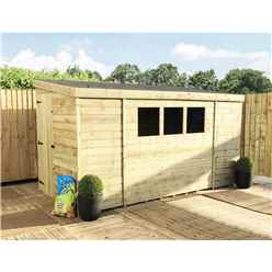 14 x 5 Reverse Pressure Treated Tongue And Groove Pent Shed With 3 Windows And Single Door + Safety Toughened Glass (Please Select Left Or Right Panel For Door)