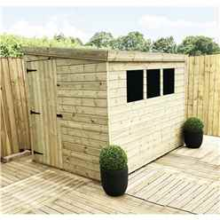 8 x 7 Reverse Pressure Treated Tongue And Groove Pent Shed With 3 Windows And Single Door + Safety Toughened Glass (Please Select Left Or Right Panel For Door)