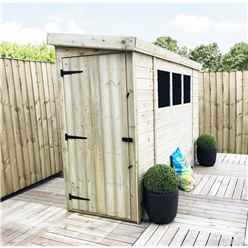 6 X 3 Reverse Pressure Treated Tongue And Groove Pent Shed With 3 Windows And Single Door + Safety Toughened Glass  (please Select Left Or Right Panel For Door)