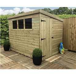 9 X 5 Pressure Treated Tongue And Groove Pent Shed With 3 Windows And Side Door + Safety Toughened Glass  (please Select Left Or Right Panel For Door)