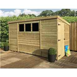 12 x 5 Pressure Treated Tongue And Groove Pent Shed With 3 Windows And Side Door + Safety Toughened Glass (Please Select Left Or Right Panel For Door)