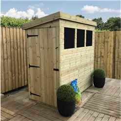 8 x 3 Pressure Treated Tongue And Groove Pent Shed With 3 Windows And Side Door + Safety Toughened Glass (Please Select Left Or Right Panel For Door)