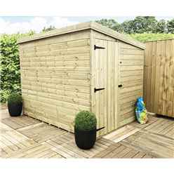 7 x 7 Windowless Pressure Treated Tongue And Groove Pent Shed With Side Door (Please Select Left Or Right Door)