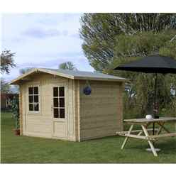 3m x 2.4m Apex Log Cabin (Single Glazing) + Free Floor & Felt & Safety Glass (34mm)