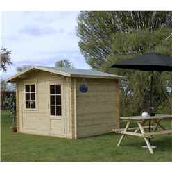 3m x 2.4m Apex Log Cabin (Double Glazing) + Free Floor & Felt & Safety Glass (34mm)