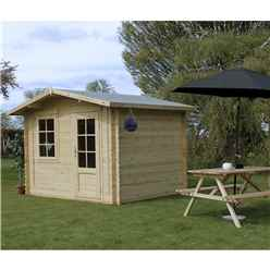 3m x 2.4m Apex Log Cabin (Double Glazing) + Free Floor & Felt & Safety Glass (44mm)
