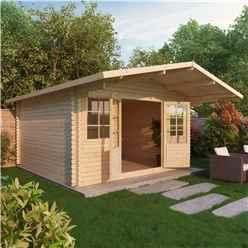4m x 4m Apex Log Cabin (Double Glazing) + Free Floor & Felt & Safety Glass (44mm)