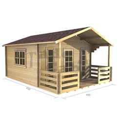 4m X 3m (13 X 10) Apex Log Cabin (2057)  - Double Glazing - 44mm Wall Thickness