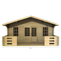 5m x 3m (16 x 10) Apex Log Cabin (2087) - Double Glazing + Double Doors - 44mm Wall Thickness