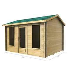 3.5m X 2.5m (12 X 8) Apex Log Cabin (2038) - Double Glazing + Single Door - 44mm Wall Thickness